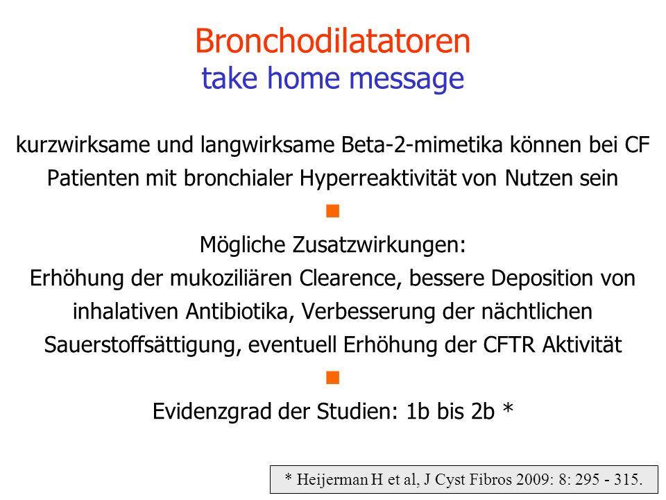 kurzwirksame und langwirksame Beta-2-mimetika können bei CF Patienten mit bronchialer Hyperreaktivität von Nutzen sein Mögliche Zusatzwirkungen: Erhöh