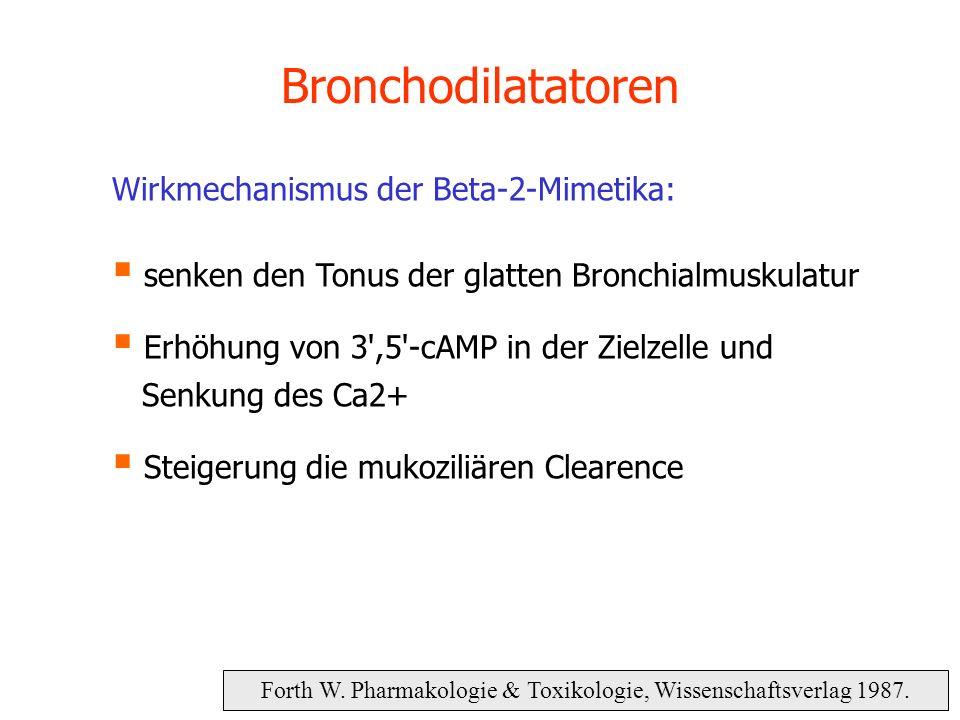 Bronchodilatatoren Forth W. Pharmakologie & Toxikologie, Wissenschaftsverlag 1987. Wirkmechanismus der Beta-2-Mimetika: senken den Tonus der glatten B