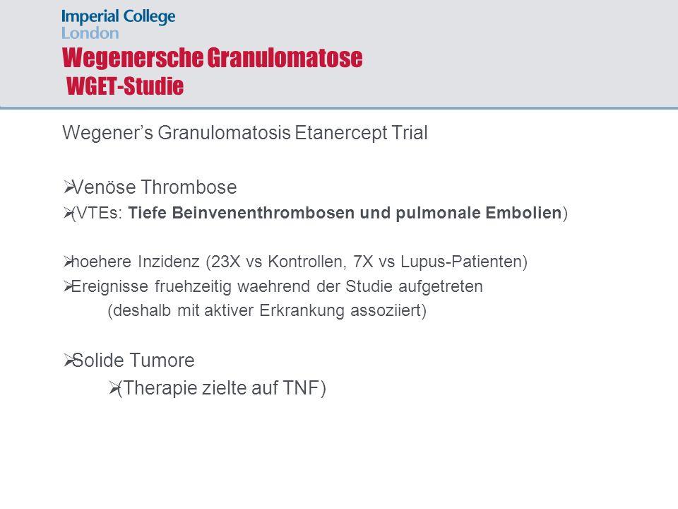 Wegenersche Granulomatose WGET-Studie Wegeners Granulomatosis Etanercept Trial Venöse Thrombose (VTEs: Tiefe Beinvenenthrombosen und pulmonale Embolie