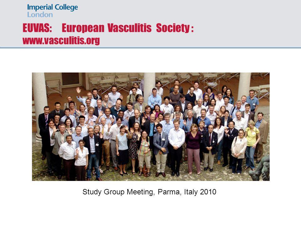 EUVAS: European Vasculitis Society : www.vasculitis.org Study Group Meeting, Parma, Italy 2010