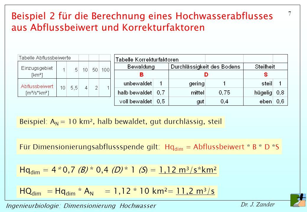 7 Ingenieurbiologie: Dimensionierung Hochwasser Dr. J. Zander Für Dimensionierungsabflussspende gilt: Hq dim = Abflussbeiwert * B * D *S HQ dim = Hq d