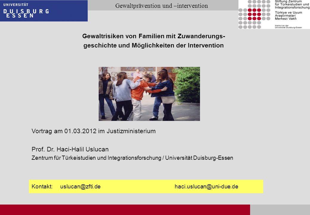 Seite 2 Gewaltprävention und –intervention Vortragsprogramm Vorstellung der Projekte Risiken bei Familien mit Zuwanderungsgeschichte Jugendliche Gewalt Häusliche Gewalt Gewalttransmission Mediale Gewalt Intervention und Prävention von Gewalt