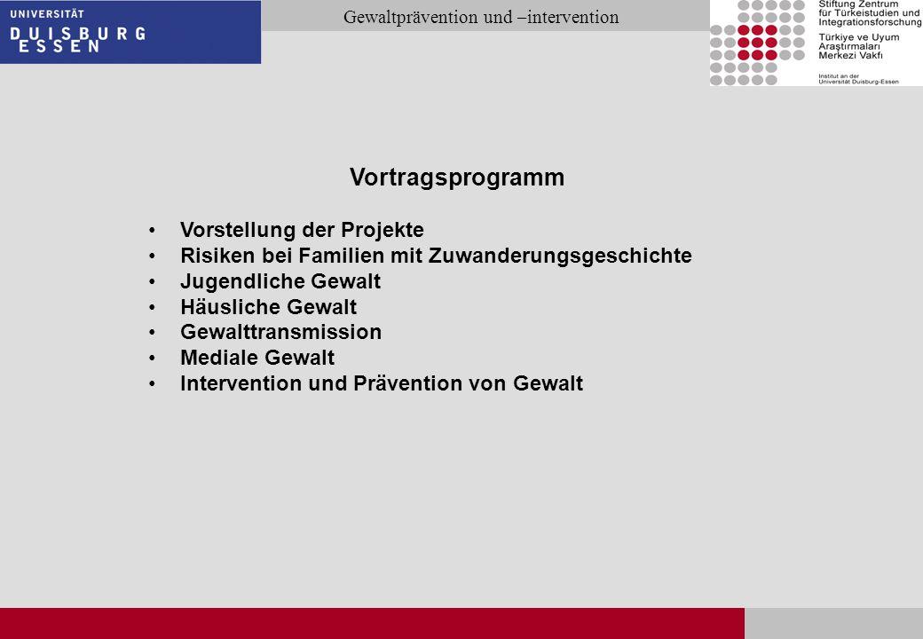 Seite 2 Gewaltprävention und –intervention Vortragsprogramm Vorstellung der Projekte Risiken bei Familien mit Zuwanderungsgeschichte Jugendliche Gewal