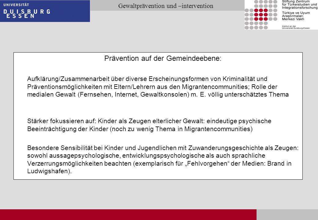 Seite 29 Gewaltprävention und –intervention Prävention auf der Gemeindeebene: Aufklärung/Zusammenarbeit über diverse Erscheinungsformen von Kriminalit