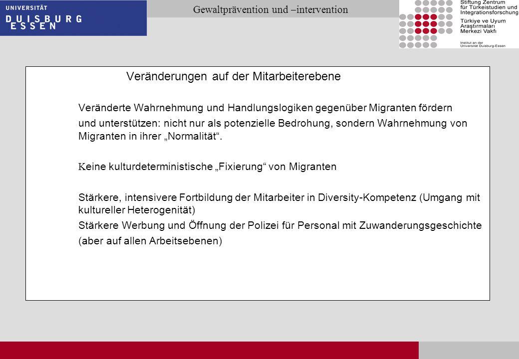Seite 31 Gewaltprävention und –intervention Veränderungen auf der Mitarbeiterebene Veränderte Wahrnehmung und Handlungslogiken gegenüber Migranten för