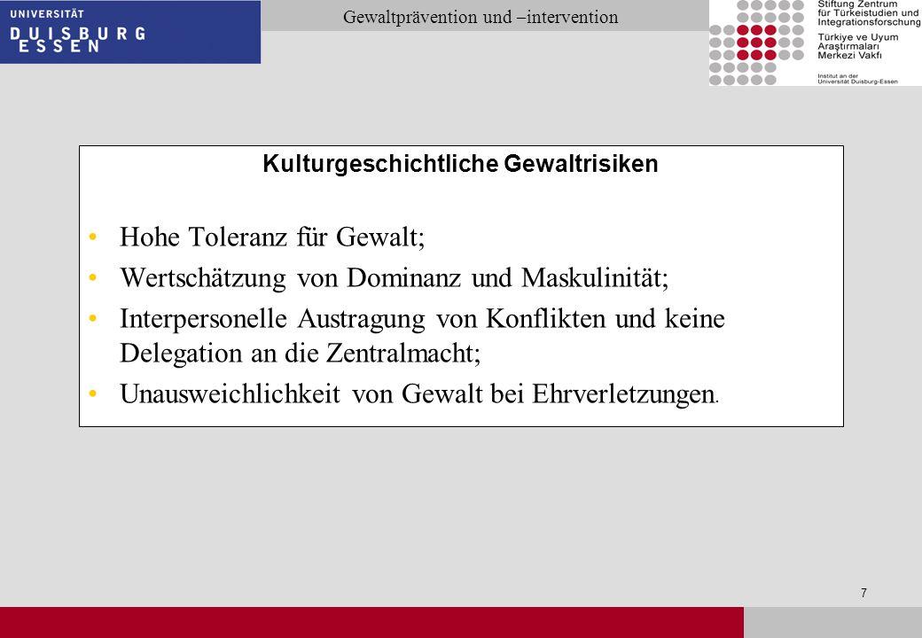 Seite 28 Gewaltprävention und –intervention Prävention auf der Gemeindeebene: Auf verzerrte Darstellungen / Berichterstattungen in den migrantischen Medien reagieren: insbesondere bei Wahrnehmung der deutschen Polizei als diskriminierend.