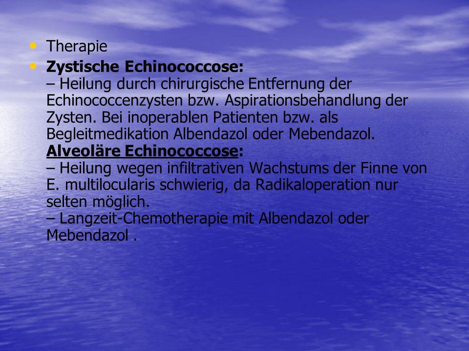 Therapie Zystische Echinococcose: – Heilung durch chirurgische Entfernung der Echinococcenzysten bzw. Aspirationsbehandlung der Zysten. Bei inoperable