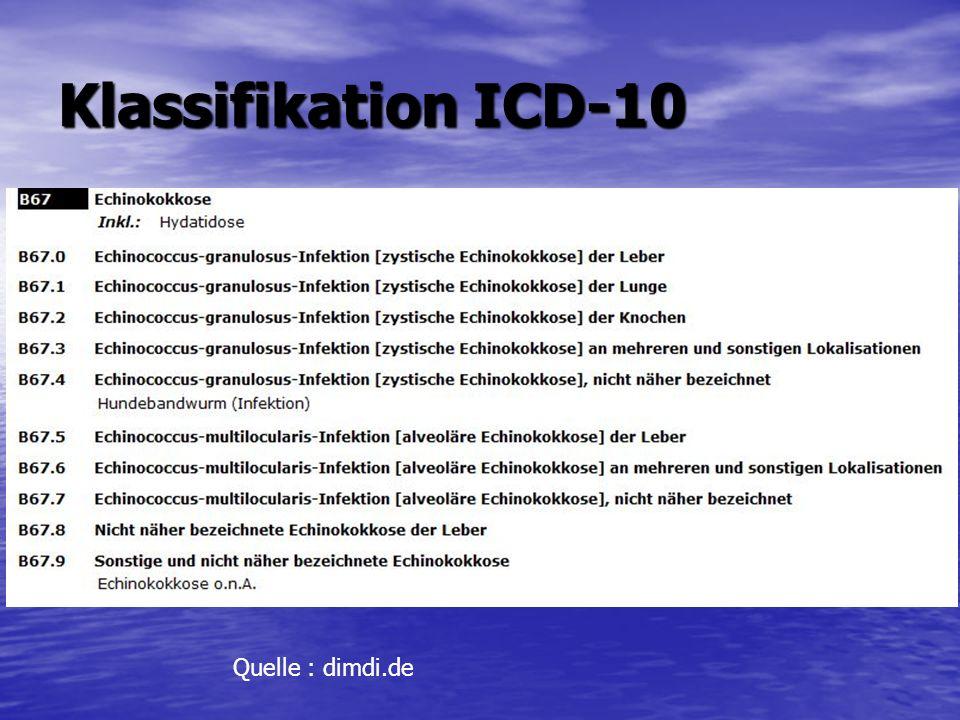 Klassifikation ICD-10 Quelle : dimdi.de