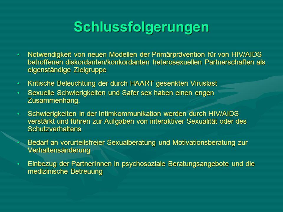 Schlussfolgerungen Notwendigkeit von neuen Modellen der Primärprävention für von HIV/AIDS betroffenen diskordanten/konkordanten heterosexuellen Partnerschaften als eigenständige ZielgruppeNotwendigkeit von neuen Modellen der Primärprävention für von HIV/AIDS betroffenen diskordanten/konkordanten heterosexuellen Partnerschaften als eigenständige Zielgruppe Kritische Beleuchtung der durch HAART gesenkten ViruslastKritische Beleuchtung der durch HAART gesenkten Viruslast Sexuelle Schwierigkeiten und Safer sex haben einen engen Zusammenhang.Sexuelle Schwierigkeiten und Safer sex haben einen engen Zusammenhang.