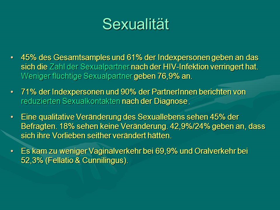 Sexualität 45% des Gesamtsamples und 61% der Indexpersonen geben an das sich die Zahl der Sexualpartner nach der HIV-Infektion verringert hat.
