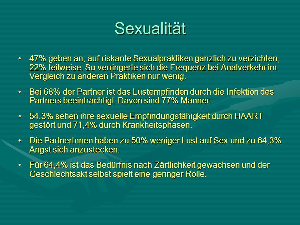 Sexualität 47% geben an, auf riskante Sexualpraktiken gänzlich zu verzichten, 22% teilweise.