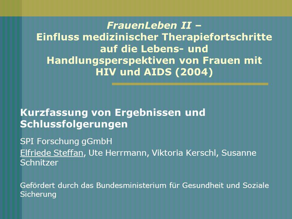 Sozialen Beziehungen (I) Keine Normalisierung des Lebens mit HIV Gesundheitliche Stabilisierung führt nicht zu Veränderungen im sozialen Umfeld: kein offenerer Umgang mit HIV Viele Frauen verheimlichen die Tatsache, HIV- infiziert zu sein, noch immer, auch vor nahen Familienangehörigen und Freunden.