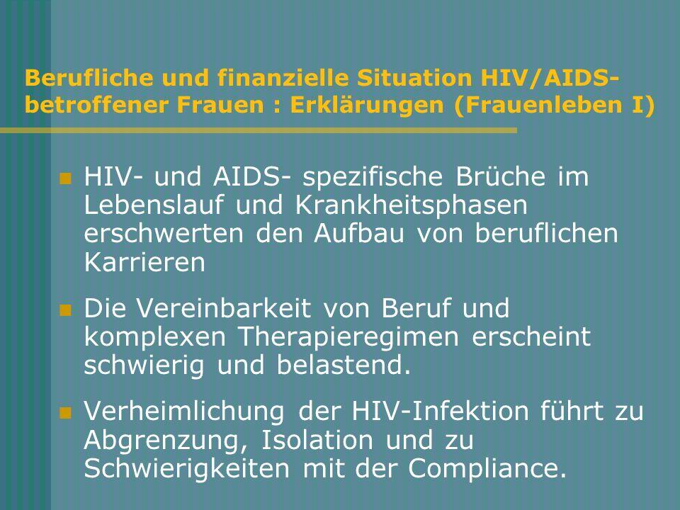 Berufliche und finanzielle Situation HIV/AIDS- betroffener Frauen : Erklärungen (Frauenleben I) HIV- und AIDS- spezifische Brüche im Lebenslauf und Kr