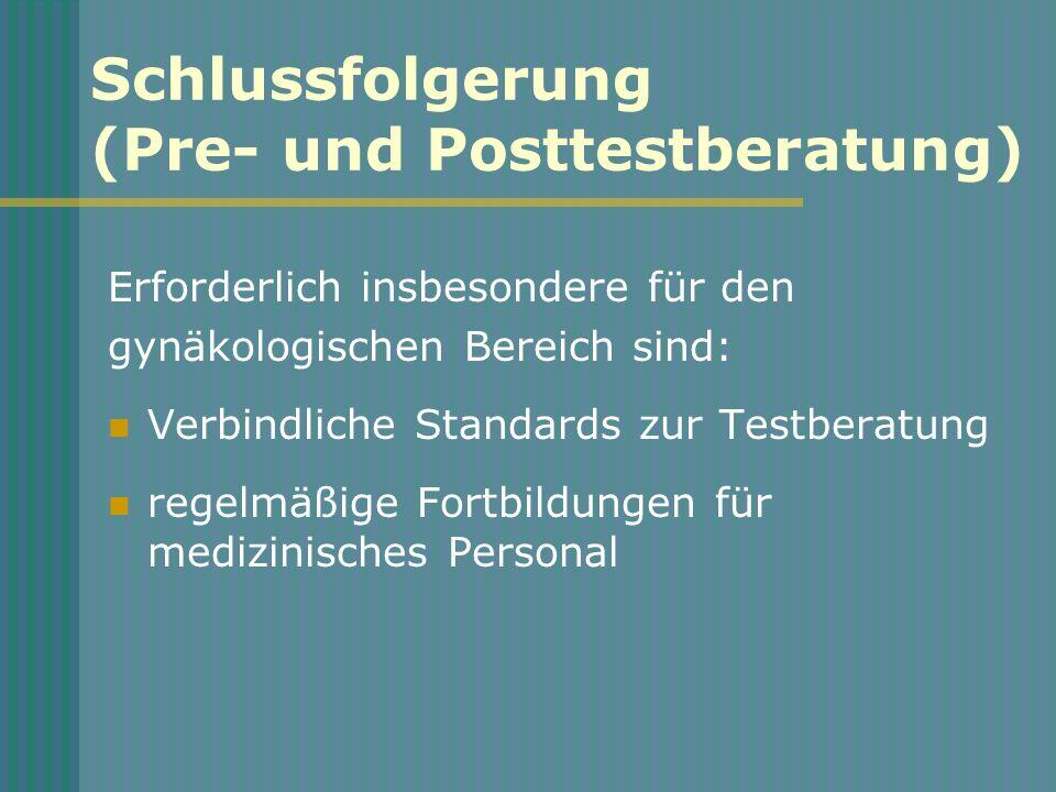 Schlussfolgerung (Pre- und Posttestberatung) Erforderlich insbesondere für den gynäkologischen Bereich sind: Verbindliche Standards zur Testberatung regelmäßige Fortbildungen für medizinisches Personal