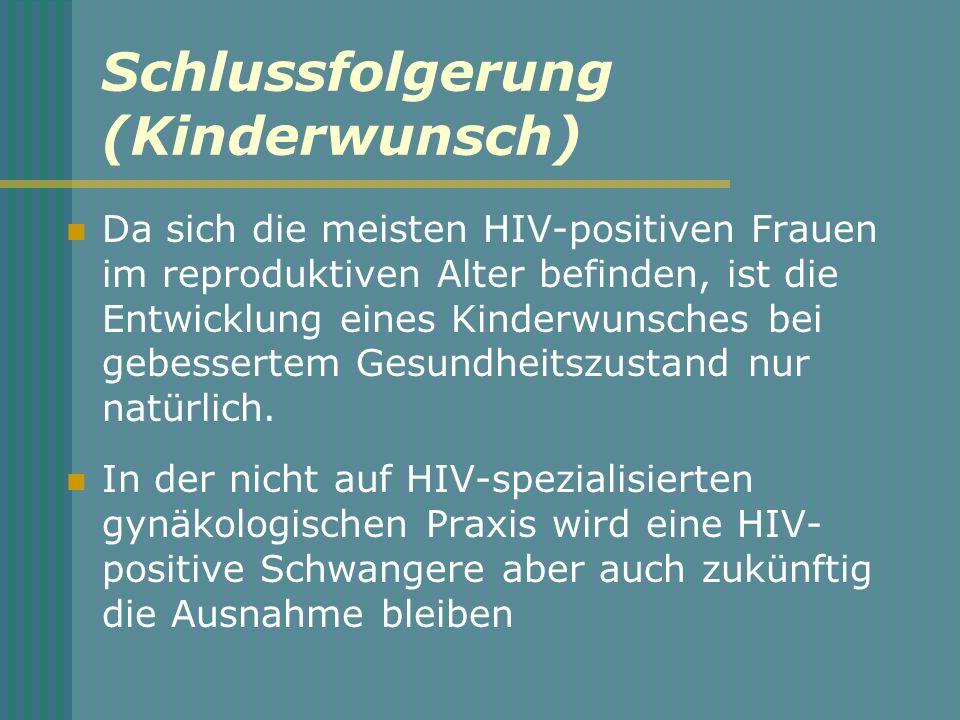 Schlussfolgerung (Kinderwunsch) Da sich die meisten HIV-positiven Frauen im reproduktiven Alter befinden, ist die Entwicklung eines Kinderwunsches bei gebessertem Gesundheitszustand nur natürlich.