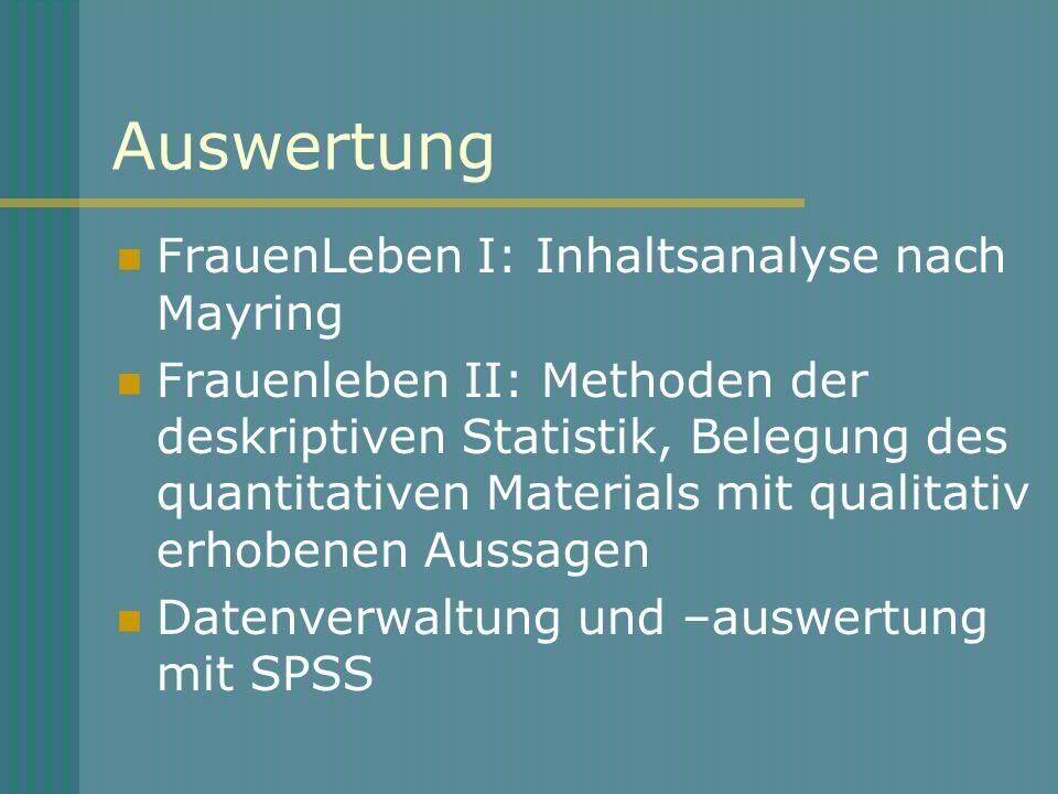 Auswertung FrauenLeben I: Inhaltsanalyse nach Mayring Frauenleben II: Methoden der deskriptiven Statistik, Belegung des quantitativen Materials mit qu