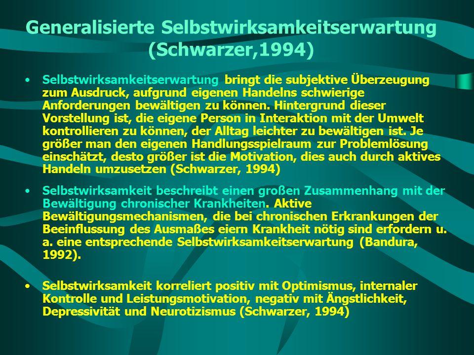 Generalisierte Selbstwirksamkeitserwartung (Schwarzer,1994) Selbstwirksamkeitserwartung bringt die subjektive Überzeugung zum Ausdruck, aufgrund eigen