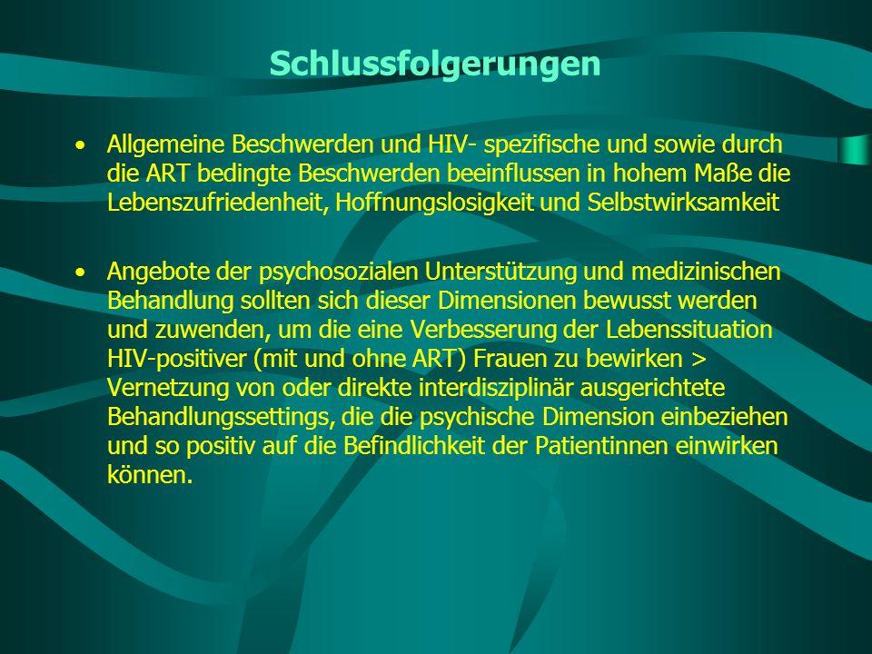 Schlussfolgerungen Allgemeine Beschwerden und HIV- spezifische und sowie durch die ART bedingte Beschwerden beeinflussen in hohem Maße die Lebenszufri