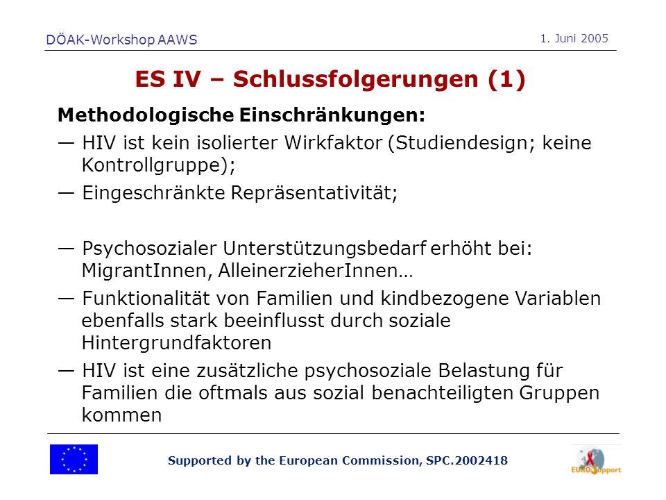 Supported by the European Commission, SPC.2002418 ES IV – Schlussfolgerungen (1) Methodologische Einschränkungen: HIV ist kein isolierter Wirkfaktor (