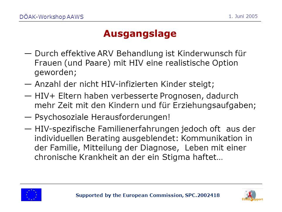 Supported by the European Commission, SPC.2002418 Psychosoziale Probleme von Eltern mit HIV zu erfassen; Psychosoziale Probleme von Kindern in durch HIV betroffene Familien zu erfassen; Faktoren zu analysieren, die die allgemeine Funktionalität von Familien beinflussen und die den Effekt von HIV auf das Familiensystem günstig beeinflussen können.