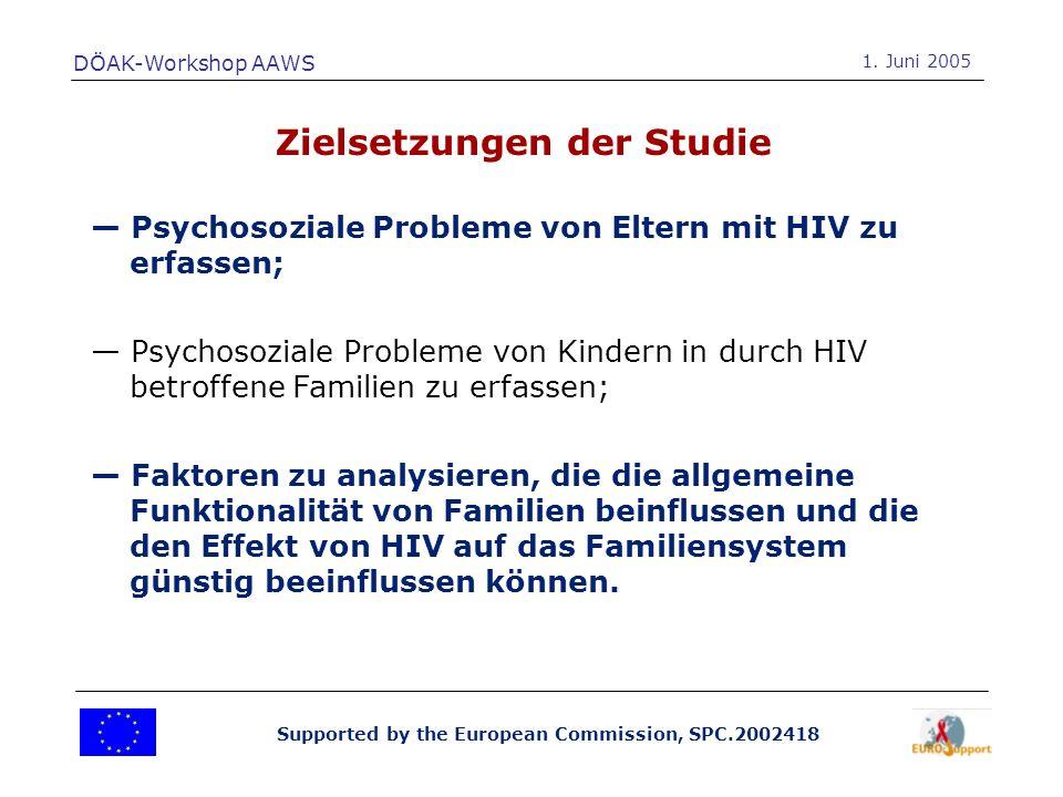Supported by the European Commission, SPC.2002418 Psychosoziale Probleme von Eltern mit HIV zu erfassen; Psychosoziale Probleme von Kindern in durch H