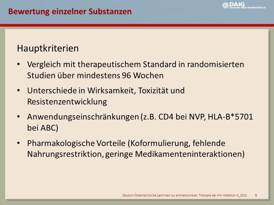 Deutsch-Österreichische Letilinien zur antiretroviralen Therapie der HIV-Infektion 4_2012 6 Bewertung Substanzen/Kombinationen Einstufung Empfohlen = Vorrangige/s Medikament/Kombination für die Primärtherapie.