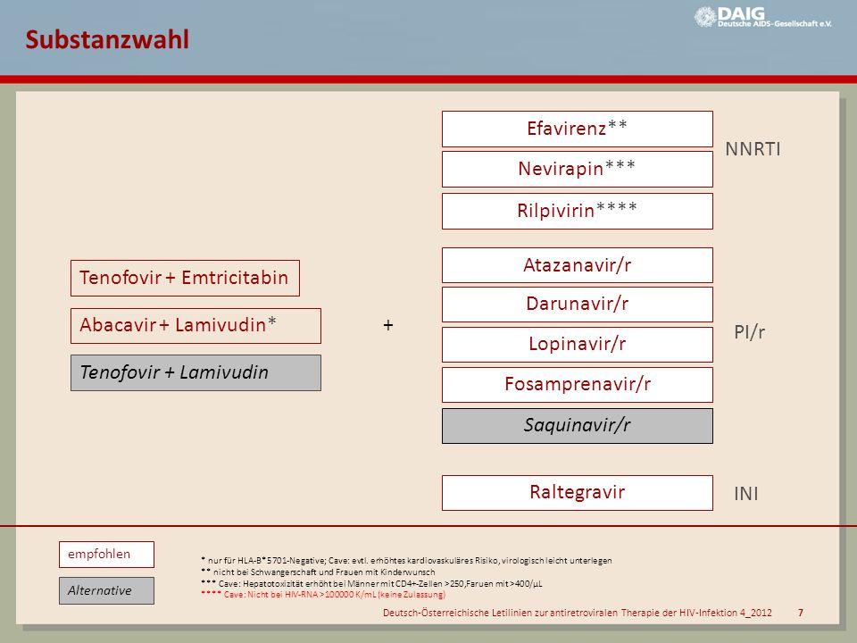 Deutsch-Österreichische Letilinien zur antiretroviralen Therapie der HIV-Infektion 4_2012 7 Efavirenz** Nevirapin*** Atazanavir/r Darunavir/r Lopinavi