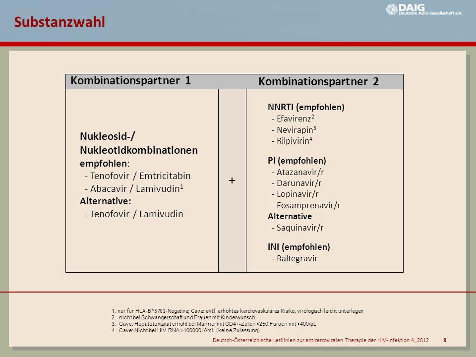 Deutsch-Österreichische Letilinien zur antiretroviralen Therapie der HIV-Infektion 4_2012 8 1. nur für HLA-B*5701-Negative; Cave: evtl. erhöhtes kardi
