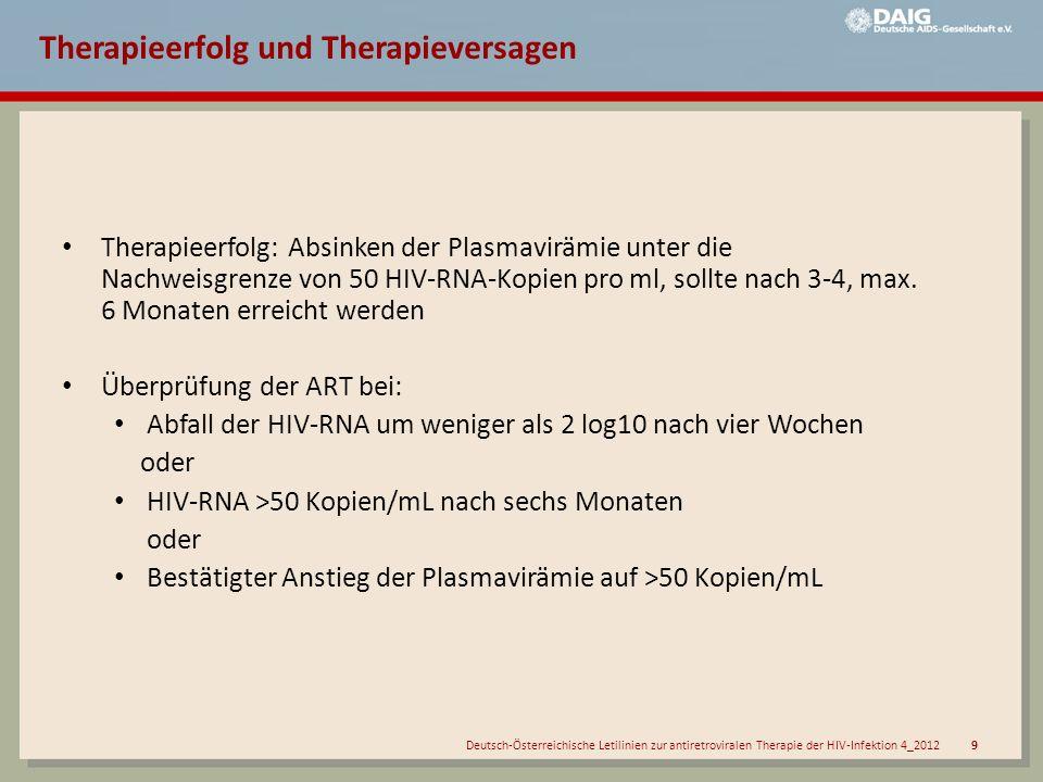 Deutsch-Österreichische Letilinien zur antiretroviralen Therapie der HIV-Infektion 4_2012 10 Resistenztestung EmpfehlungGraduierung der Empfehlung Kommentare Bisher unbehandelte Patienten Primäre/ kürzliche Infektion Resistenztestung empfohlen A II Meldung an das Serokonverterregister des RKI Chronische Infektion, vor Beginn einer Therapie Resistenztestung empfohlen A II Wenn nicht schon vorher erfolgt Behandelte Patienten Nach erstem Therapieversagen Resistenztestung generell empfohlen vor Therapiewechsel 3 A II Abklärung der weiteren Ursachen des Therapieversagens unerlässlich Mit umfangreicherer antiretroviraler Vorbehandlung Resistenztestung 2,3 generell empfohlen vor Therapiewechsel A II Abklärung der weiteren Ursachen des Therapieversagens unerlässlich In oder nach einer Therapiepause Resistenztestung u.U.