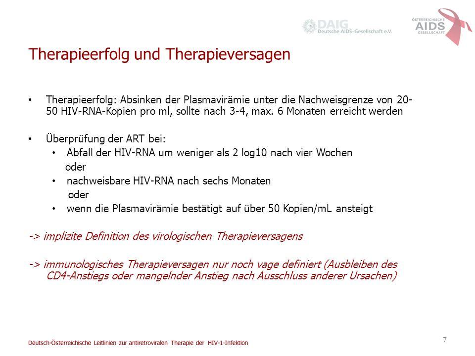 7 Therapieerfolg und Therapieversagen Therapieerfolg: Absinken der Plasmavirämie unter die Nachweisgrenze von 20- 50 HIV-RNA-Kopien pro ml, sollte nach 3-4, max.