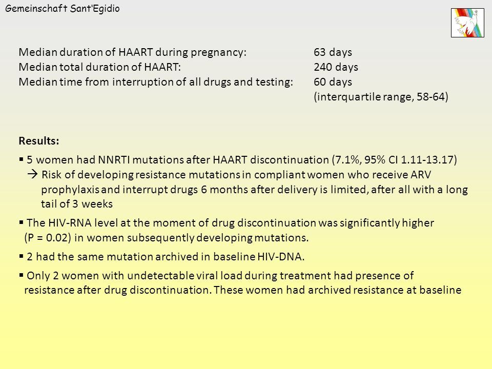 Gemeinschaft SantEgidio Median duration of HAART during pregnancy:63 days Median total duration of HAART:240 days Median time from interruption of all