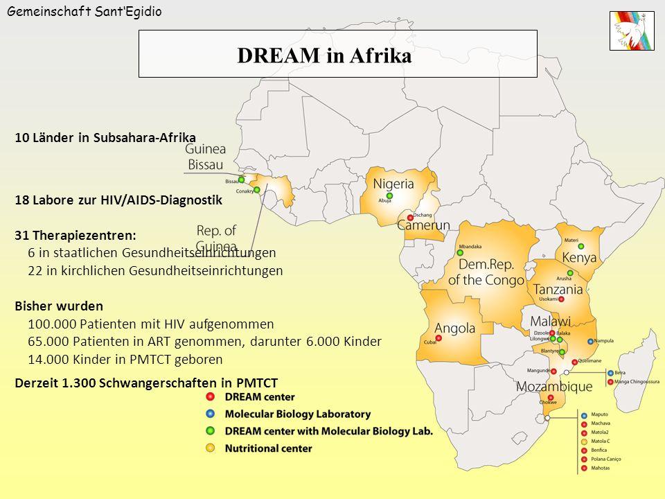 Gemeinschaft SantEgidio 10 Länder in Subsahara-Afrika 18 Labore zur HIV/AIDS-Diagnostik 31 Therapiezentren: 6 in staatlichen Gesundheitseinrichtungen