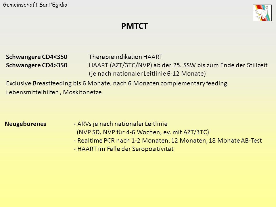 Gemeinschaft SantEgidio Schwangere CD4<350Therapieindikation HAART Schwangere CD4>350HAART (AZT/3TC/NVP) ab der 25. SSW bis zum Ende der Stillzeit (je