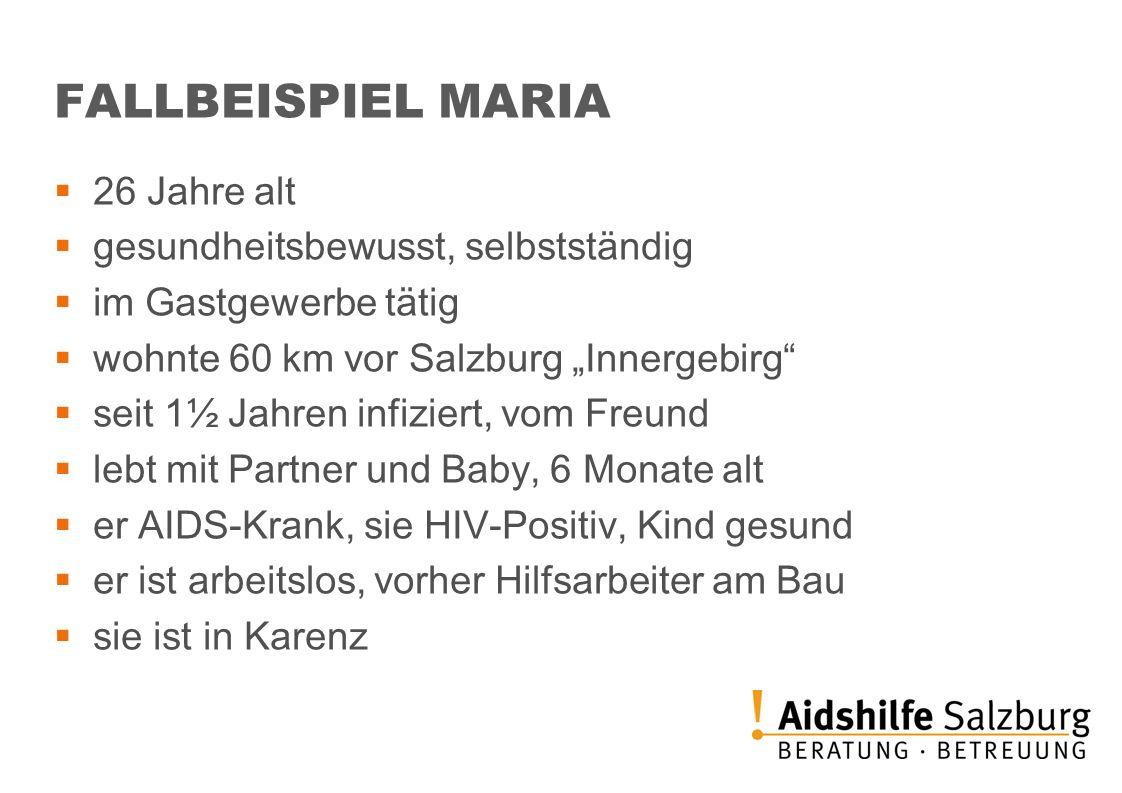 FALLBEISPIEL MARIA 26 Jahre alt gesundheitsbewusst, selbstständig im Gastgewerbe tätig wohnte 60 km vor Salzburg Innergebirg seit 1½ Jahren infiziert,