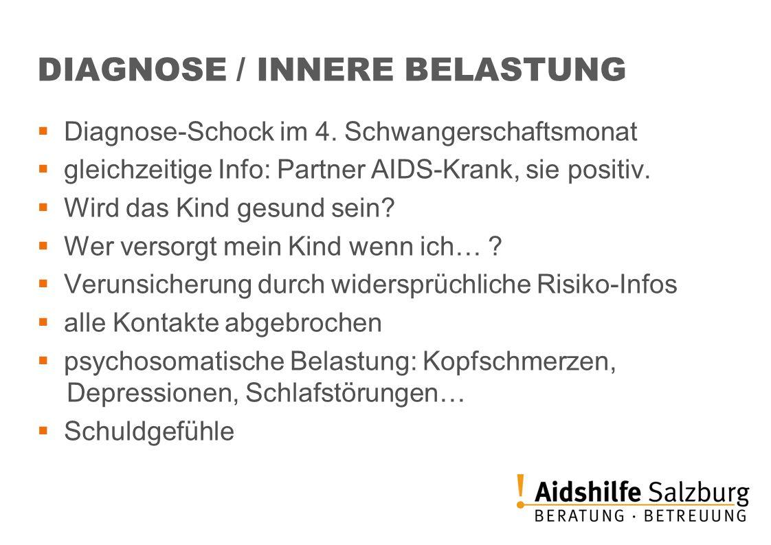 DIAGNOSE / INNERE BELASTUNG Diagnose-Schock im 4. Schwangerschaftsmonat gleichzeitige Info: Partner AIDS-Krank, sie positiv. Wird das Kind gesund sein