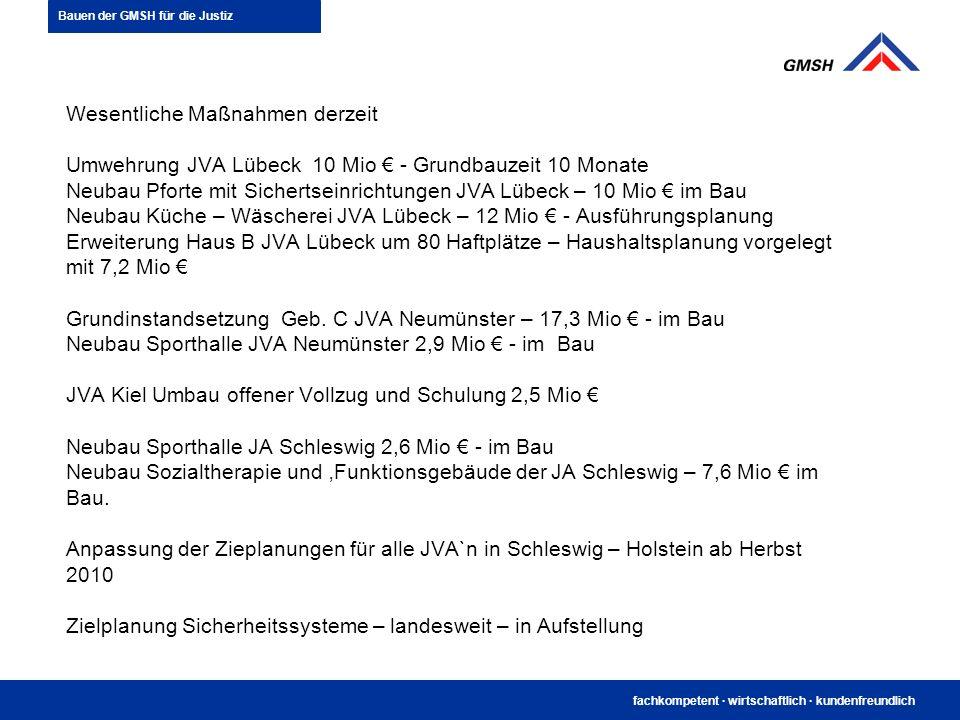 fachkompetent · wirtschaftlich · kundenfreundlich Wesentliche Maßnahmen derzeit Umwehrung JVA Lübeck 10 Mio - Grundbauzeit 10 Monate Neubau Pforte mit