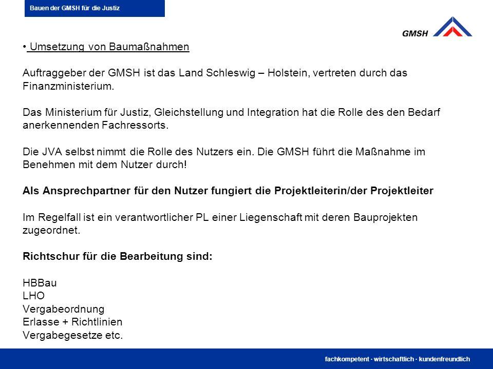fachkompetent · wirtschaftlich · kundenfreundlich Umsetzung von Baumaßnahmen Auftraggeber der GMSH ist das Land Schleswig – Holstein, vertreten durch
