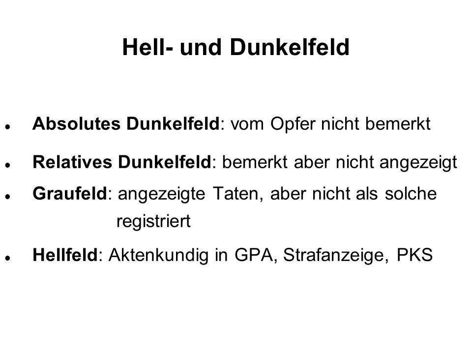 Hell- und Dunkelfeld Absolutes Dunkelfeld: vom Opfer nicht bemerkt Relatives Dunkelfeld: bemerkt aber nicht angezeigt Graufeld: angezeigte Taten, aber