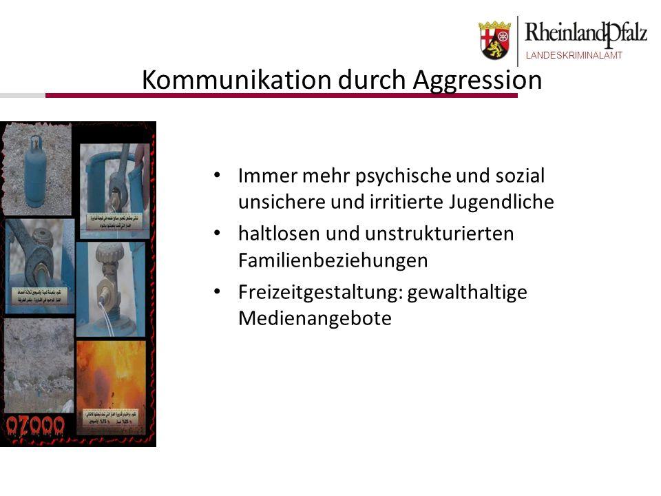 LANDESKRIMINALAMT Kommunikation durch Aggression Immer mehr psychische und sozial unsichere und irritierte Jugendliche haltlosen und unstrukturierten