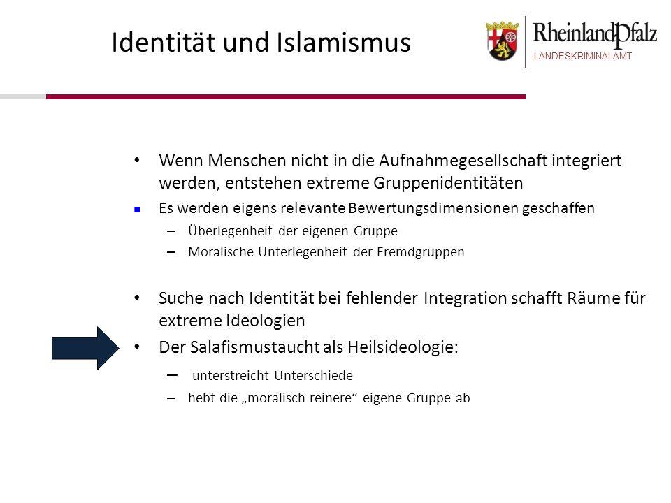 LANDESKRIMINALAMT Identität und Islamismus Wenn Menschen nicht in die Aufnahmegesellschaft integriert werden, entstehen extreme Gruppenidentitäten Es