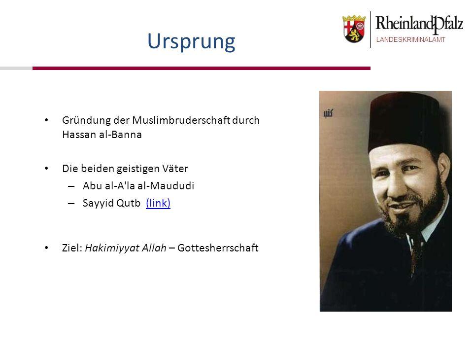 LANDESKRIMINALAMT Gründung der Muslimbruderschaft durch Hassan al-Banna Die beiden geistigen Väter – Abu al-A'la al-Maududi – Sayyid Qutb (link)(link)