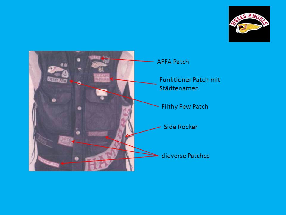 AFFA Patch Funktioner Patch mit Städtenamen Filthy Few Patch Side Rocker dieverse Patches