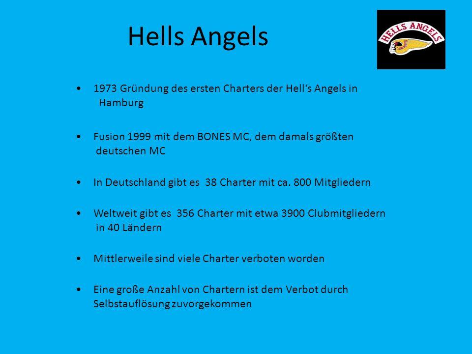 Hells Angels 1973 Gründung des ersten Charters der Hells Angels in Hamburg Fusion 1999 mit dem BONES MC, dem damals größten deutschen MC In Deutschlan