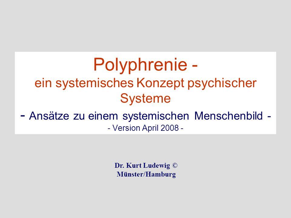 Polyphrenie - ein systemisches Konzept psychischer Systeme - Ansätze zu einem systemischen Menschenbild - - Version April 2008 - Dr. Kurt Ludewig © Mü