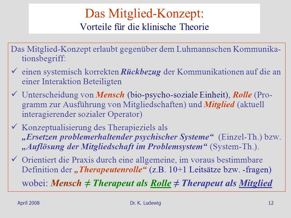 April 2008Dr. K. Ludewig12 Das Mitglied-Konzept: Vorteile für die klinische Theorie Das Mitglied-Konzept erlaubt gegenüber dem Luhmannschen Kommunika-
