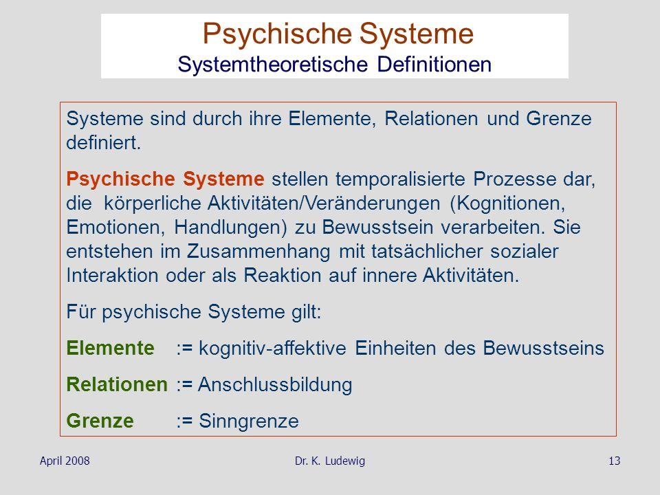 April 2008Dr. K. Ludewig13 Systeme sind durch ihre Elemente, Relationen und Grenze definiert. Psychische Systeme stellen temporalisierte Prozesse dar,