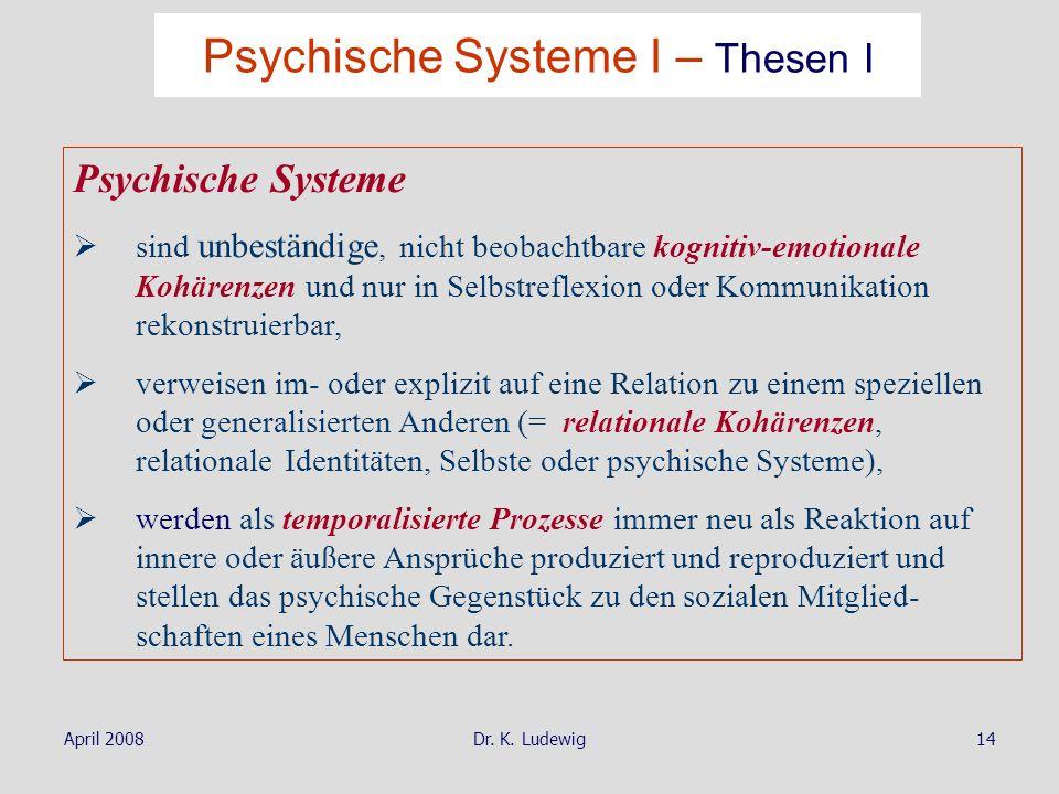 April 2008Dr. K. Ludewig14 Psychische Systeme sind unbeständige, nicht beobachtbare kognitiv-emotionale Kohärenzen und nur in Selbstreflexion oder Kom