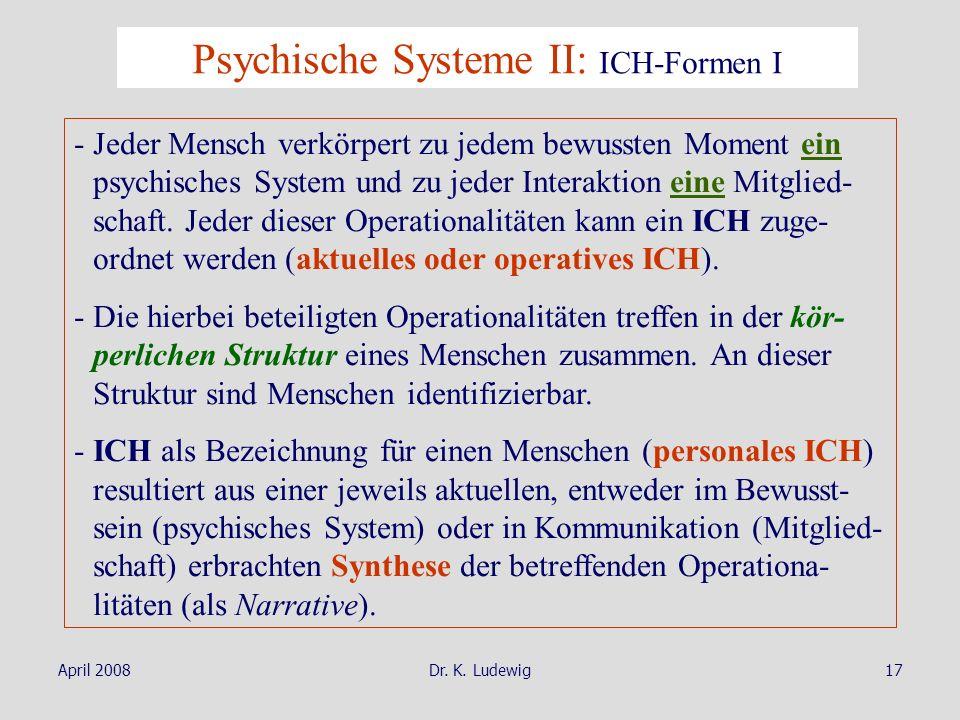 April 2008Dr. K. Ludewig17 Psychische Systeme II: ICH-Formen I - Jeder Mensch verkörpert zu jedem bewussten Moment ein psychisches System und zu jeder