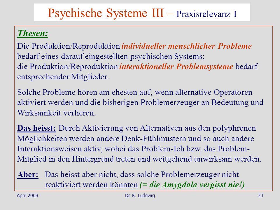 April 2008Dr. K. Ludewig23 Psychische Systeme III – Praxisrelevanz I Thesen: Die Produktion/Reproduktion individueller menschlicher Probleme bedarf ei