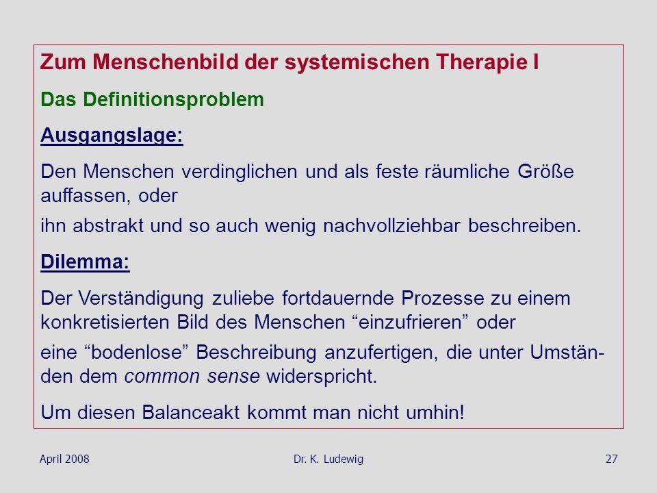 April 2008Dr. K. Ludewig27 Zum Menschenbild der systemischen Therapie I Das Definitionsproblem Ausgangslage: Den Menschen verdinglichen und als feste